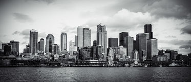 SEATTLE SKYLINE. SHOOT FROM cruise tour when approaching the pier Royalty Free Stock Image