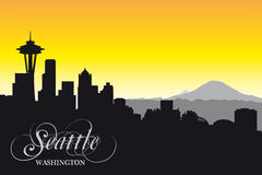 Seattle skyline, silhouette Royalty Free Stock Photo