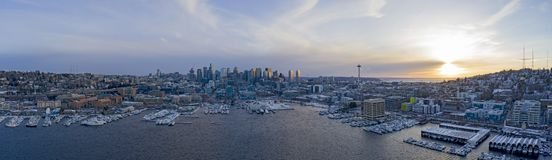 Seattle Skyline Snowy Winter Sunset Panoramic View of City Lake Union Waterfront stock photos