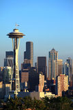 Seattle-Skyline am Sonnenuntergang, Staat Washington. Stockfoto