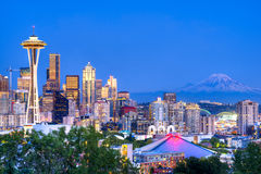 Seattle. Skyline with Space Needle and Mount Rainier on the background stock images