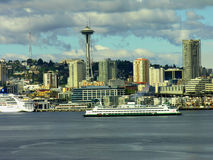 Seattle Skyline and Space Needle, Washington. A view of the impressive Seattle skyline and waterfront Royalty Free Stock Images