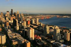 Seattle skyline from Space needle, Washington. Aerial view of skyline withl golden evening light at sunset from Space Needle, Seattle, Washington, USA royalty free stock photos
