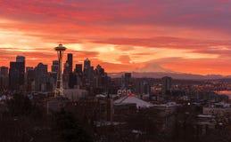 Seattle Skyline at Sunrise Stock Photo