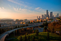 The Seattle Skyline at Sunset stock photography