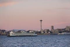 Seattle Skyline at Sunset Stock Photography