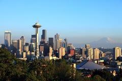Seattle skyline at sunset,  Washington state. Royalty Free Stock Image