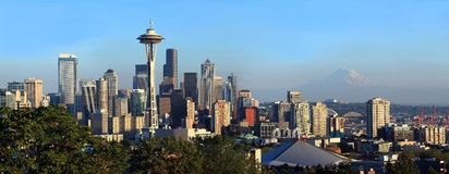 Seattle skyline at sunset,  Washington state. Royalty Free Stock Photo