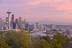 Seattle skyline at sunset Washington state. Stock Photos
