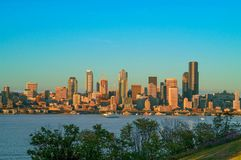 Seattle Skyline during blue hour Stock Photography