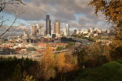 Seattle Skyline Traffic And Towers Stock Photos