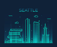 Seattle skyline trendy vector illustration linear Royalty Free Stock Photos