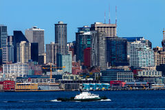 Seattle Skyline Tugboat Puget Sound Washington State Stock Photography