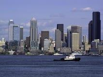 Seattle Skyline tugboat. Seattle Skyline with a tugboat. Puget Sound Washington State Pacific Northwest Royalty Free Stock Photo