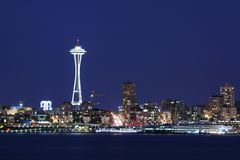 Seattle skyline at twilight. Including Space Needle Royalty Free Stock Photos