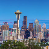 Seattle skyline at twilight Stock Photos