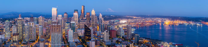 Seattle skyline at twilight. Seattle skyline panorama at sunset as seen from Space Needle Tower, Seattle, WA Royalty Free Stock Photography