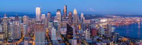Seattle skyline at twilight royalty free stock photography