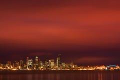 Seattle skyline under fiery dawn sky Royalty Free Stock Image