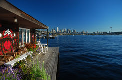 Seattle, Washington. City skyline from Union Lake. Seattle downtown skyline and Union Lake houseboats. Seattle, Washington, USA stock photography