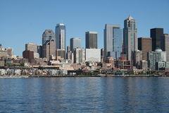 Seattle Skyline from the Water. View of the urban skyline of Seattle, Washington from the waters of Puget Sound on a sunny summer day royalty free stock photo