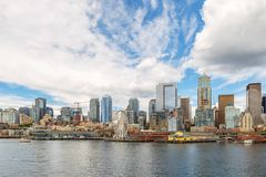 Seattle skyline and waterfront view, Washington state, USA. Seattle skyline and waterfront of downtown from across Elliott Bay royalty free stock photo