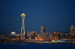 Seattle skylines at blue hour - the view from Alki Beach Stock Photography