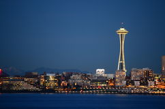 Seattle skylines at blue hour - the view from Alki Beach Royalty Free Stock Photography