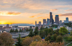 Seattle skylines and Interstate freeways converge with Elliott Bay and the waterfront background of in sunset time, Seattle, Washi Stock Photo