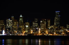 Seattle skylines at night - the view from Alki Beach. Seattle, WA, USA Stock Photos