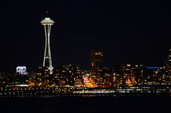 Seattle skylines at night - the view from Alki Beach. Seattle, WA, USA Royalty Free Stock Photo