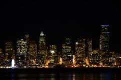 Seattle skylines at night - the view from Alki Beach Stock Photography