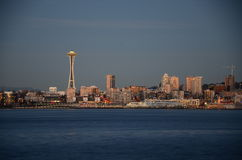 Seattle skylines after the sunset - the view from Alki Beach. Seattle, WA, USA Stock Images