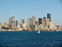 Seattle skylines, Washington, USA. Seattle skylines and a sail boat, Washington, USA Stock Photo