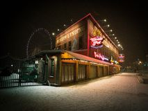 Seattle snow storm, Waterfront big wheel, landmark royalty free stock photo