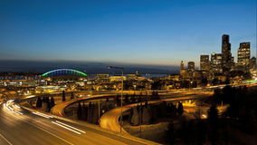 Seattle-Sonnenuntergang-zwischenstaatlicher Verkehr stock video