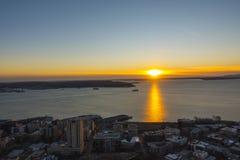 Seattle-Sonnenunterganghimmelansicht stockbilder