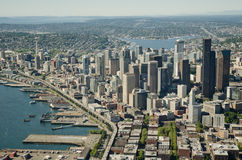 Seattle and Space Needle - Aerial. Seattle waterfront during the summer Royalty Free Stock Photography