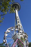 Seattle Space Needle and Ferris Wheel Stock Image