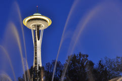 Seattle Space Needle with fountain jets stock photo