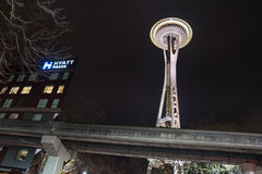 Seattle Space Needle at night Stock Images