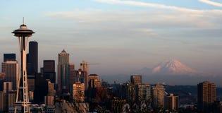 Seattle Space Needle Rainier royalty free stock photography