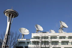 Seattle Space Needle & Satellite Dishes Stock Photography