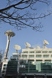 Seattle Space Needle & Satellite Dishes Stock Image