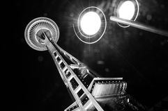 Seattle Space Needle Underneath lights at Night B/W Royalty Free Stock Photos