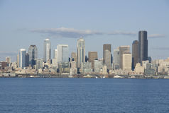 Seattle city skyline. Seattle in Spring time from Alki Beach. Seattle is one of the most beautiful cities in the US. It is surrounding by lakes and the sea Stock Photography