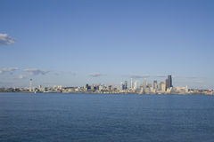Seattle city skyline. Seattle in Spring time from Alki Beach. Seattle is one of the most beautiful cities in the US. It is surrounding by lakes and the sea Royalty Free Stock Image