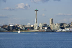 Seattle city skyline with Space Needle. Seattle in Spring time from Alki Beach. Seattle is one of the most beautiful cities in the US. It is surrounding by lakes Royalty Free Stock Photo