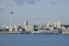 Seattle city skyline with Space Needle. Seattle in Spring time from Alki Beach. Seattle is one of the most beautiful cities in the US. It is surrounding by lakes Stock Photography