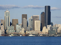 Seattle city skyline. Seattle in Spring time from Alki Beach. Seattle is one of the most beautiful cities in the US. It is surrounding by lakes and the sea Stock Images